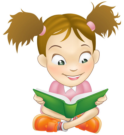 seated: Illustration of a young sweet girl child happily reading a book