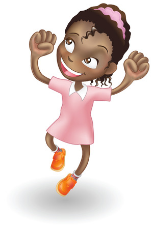 An illustration of a young black girl jumping for joy Vector