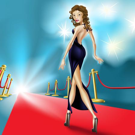 celebrities: Fashion Illustration of mooie elegante vrouw op de rode loper met flash fotografie in de achtergrond.