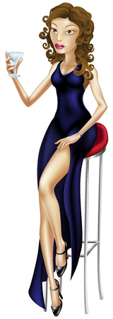 seated: Fashion illustration of a beautiful woman seated on a bar stool with a glass of martini or similar cocktail bar stool dress lady
