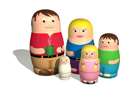 nested: An illustration of a family in the style of Russian nested Babushka or Matryoshka dolls.