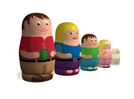 An illustration of a family in the style of Russian nested Babushka or Matryoshka dolls. illustration