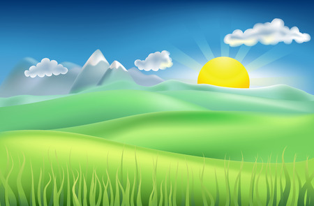 hilly: Illustration of summer landscape with sun, hills, and mountains Illustration