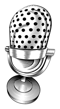 a black and white illustration of a microphone Vector
