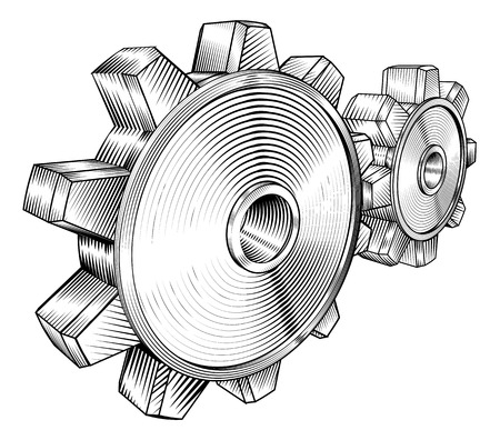 interlock: a black and white illustration of interlocking cogs