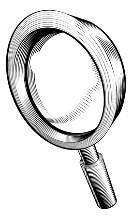 a black and white illustration of a magnifying glass in retro woodcut style Stock Vector - 7844793