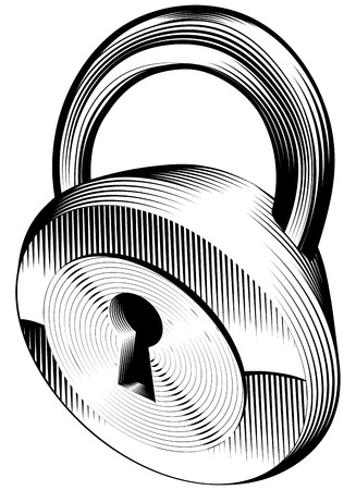a black and white illustration of a padlock Stock Vector - 7844798
