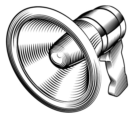 reprimand: a black and white illustration of a megaphone