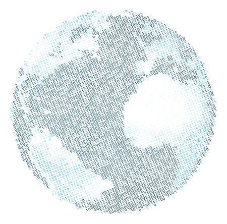 An illustration of the world, using the binary code to depict the continents and oceans Stock Vector - 7844805