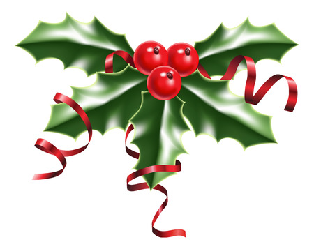 illustration of a sprig of holly with red berries and red ribbons
