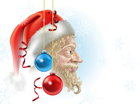 illustration of santa in profile with christmas baubles and streamers, a perfect christmas picture! Stock Vector - 7862897