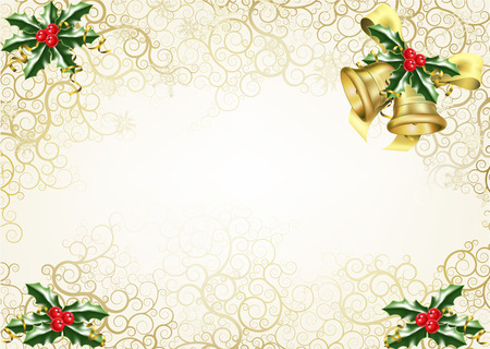 beautiful abstract Christmas background concept with holly and bells Vector