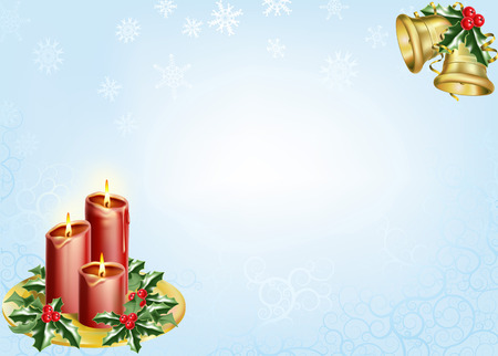 a christmas background with candles, bells and holly. Stock Vector - 8089845