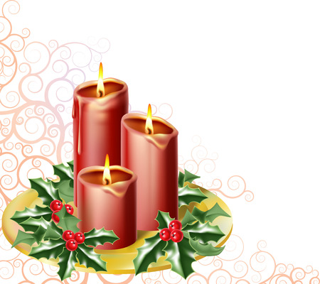christmas candles and holly with an abstract festive background Stock Vector - 8089842