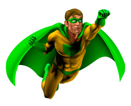 super guy: Illustration of an amazing superhero dressed in yellow and green costume with cape flying through the air Illustration