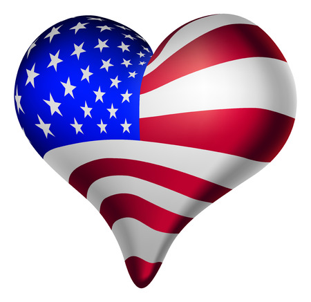 Illustration of a heart, with the american flag. Vector