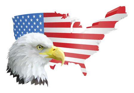 united state: illustration of the map of the united states of america and the eagle