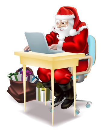 desk toy: Illustration of father christmas  shopping on-line or writing his  Illustration