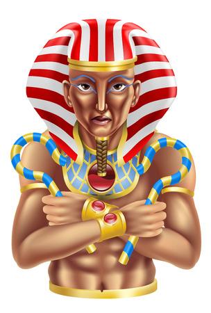 head-dress: Ilustracja starożytnego Egiptu faraona król ikonę lub avatar