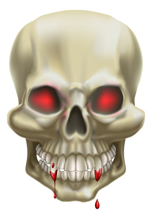 An illustration of a skull with red eyes, representing death or danger. Vector