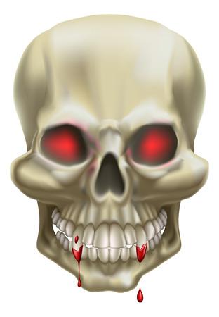 przerażający: Ilustracja z czaszkÄ… z czerwone oczy, reprezentujÄ…cych Å›mierci lub zagrożenia. Ilustracja