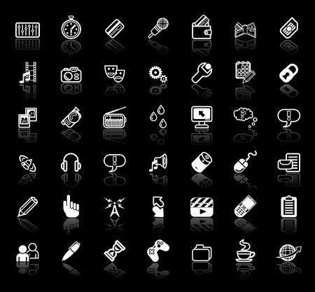 sim: An icon set relating to internet media applications Illustration