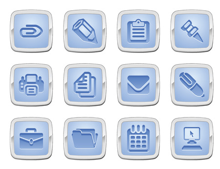 printer drawing: illustration of a set of business and office icons