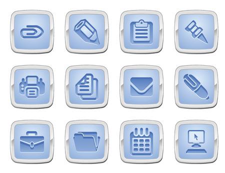 tachuelas: Ilustraci�n de un conjunto de iconos de negocio y Oficina