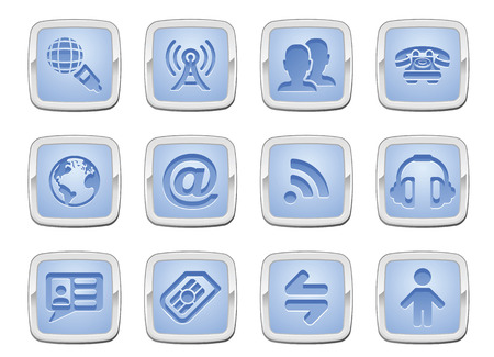 contacting: illustration of a communication icon set series