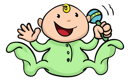 Clipart illustration of a happy cute baby playing with his or her rattle and waving Vector
