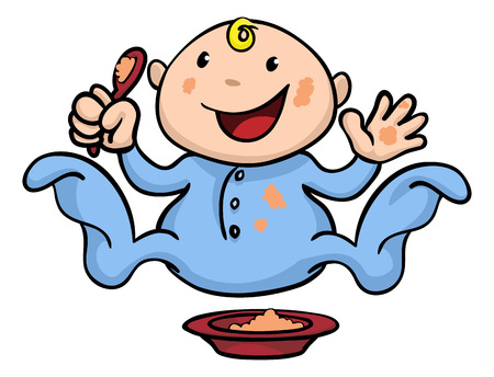 playing with spoon: Clipart illustration of a happy cute baby weaning playing and eating his or her food