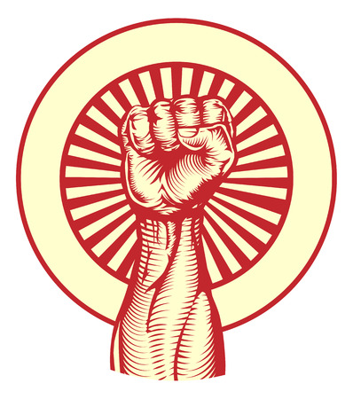 Soviet cold war propaganda poster style revolution fist raised in the air Vector