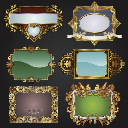 Vintage retro glossy gold frames and labels in a variety of retro antique styles. Vector