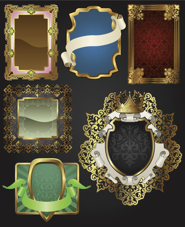 heraldic shield: Vintage retro glossy gold frames and labels in a variety of retro antique styles.