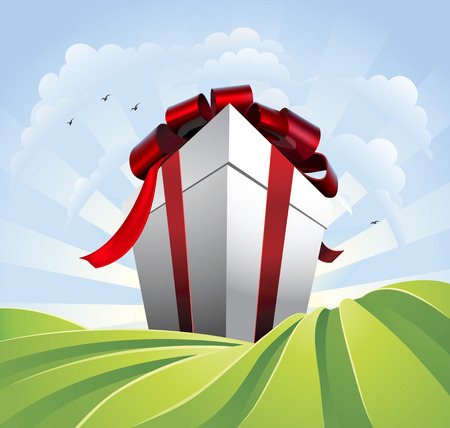 bigger: A huge gift. Conceptual illustration of a huge present with bow towering over fields. Could represent a massive sale or bargain. Illustration