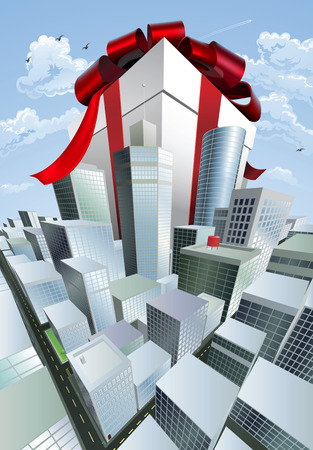 giveaway: A huge gift. Conceptual illustration of a huge present with bow towering over a city. Could represent a massive sale or bargain.