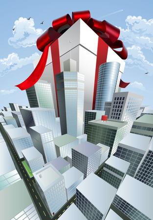 towering: Un gran regalo. Ilustraci�n conceptual de un enorme regalo con arco sobre una ciudad. Podr�a representar una venta masiva o negociaci�n.