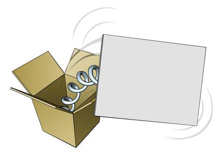 spring out: Un signo springing de una caja con copyspace en blanco para su mensaje Vectores