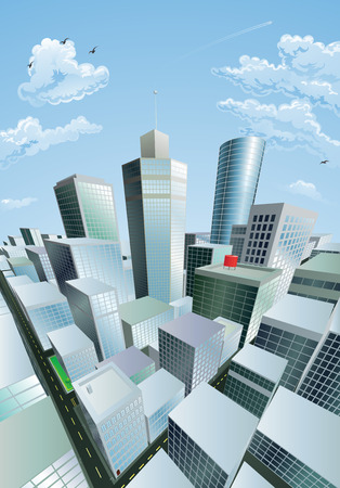 A modern cityscape of a city centre financial district with high rise skyscrapers Vector