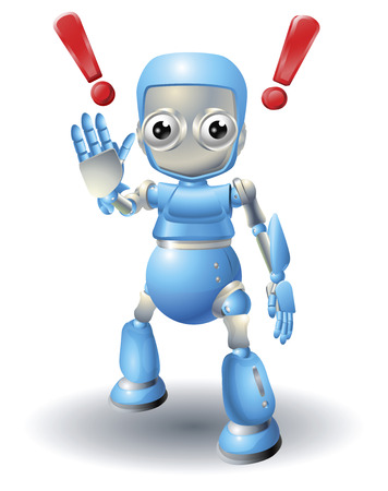 A cute blue robot character cautioning viewer with stop palm out hand gesture. Stock Vector - 8898306