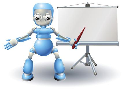 Robot mascot character presenting on roller screen Vector