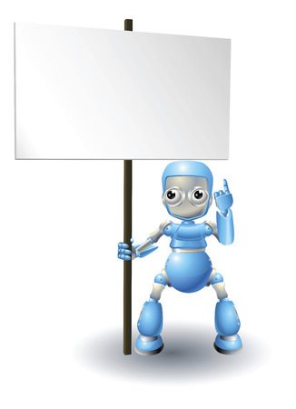 A cute blue robot character holding up a sign and pointing to it Vector