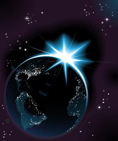 iluminados: El sol naciente mundo noche tiempo planeta tierra con luces de la ciudad