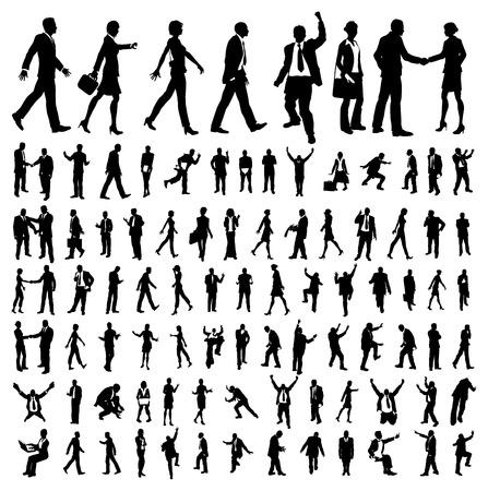 silueta humana: Muchas siluetas de personas de negocios de alta calidad Vectores