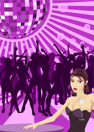 Beautiful woman with champagne and women dancing in silhouette in the background Vector