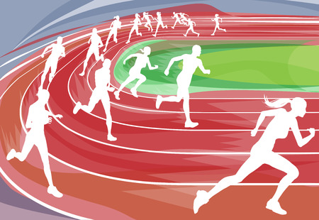 race track: Illustration background of runners sprinting in a race around the track