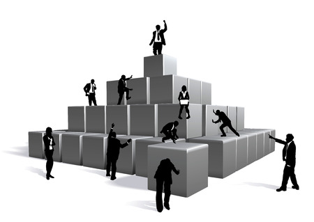 corporate building: Conceptual piece. Business people building with blocks Illustration