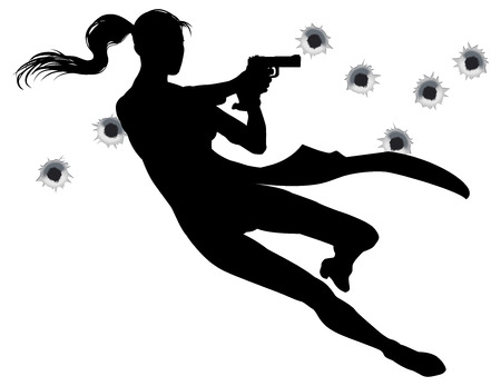 woman with gun: Female heroin leaping through the air in film style gunfight action sequence.
