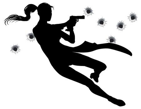 mano pistola: L'eroina femminile che salta attraverso l'aria in stile cinematografico sequenza d'azione scontro a fuoco. Vettoriali