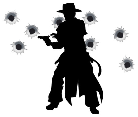 old west: A wild west gunslinger drawing and firing his gun in a shootout with bullet holes in the background